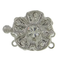 Zinc Alloy Box Clasp, Flower, platinum color plated, 3-strand & with rhinestone, nickel, lead & cadmium free, 21x16x7mm, Hole:Approx 1.5mm, 10PCs/Bag, Sold By Bag
