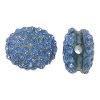 Rhinestone Resin Beads, Flat Oval, with rhinestone, blue, 15x12x8mm, Hole:Approx 2mm, 10PCs/Bag, Sold By Bag