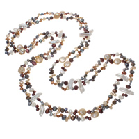 Natural Freshwater Pearl Long Necklace, multi-colored, 4-26mm, Sold Per Approx 78.5 Inch Strand