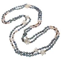 Natural Freshwater Pearl Long Necklace, multi-colored, 6-24mm, Sold Per Approx 78.5 Inch Strand