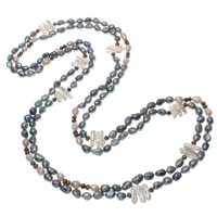 Natural Freshwater Pearl Long Necklace, multi-colored, 6-20mm, Sold Per Approx 78.5 Inch Strand
