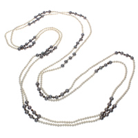 Natural Freshwater Pearl Long Necklace, Potato, multi-colored, 5-9mm, Sold Per Approx 104.5 Inch Strand