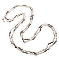Natural Freshwater Pearl Long Necklace, Rice, multi-colored, 5-8mm, Sold Per Approx 78.5 Inch Strand