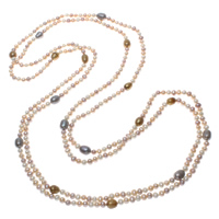 Natural Freshwater Pearl Long Necklace, Rice, multi-colored, 5-9mm, Sold Per Approx 78.5 Inch Strand