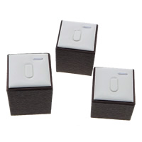 Leather Ring Display, PU, with Wood, Rectangle, 51x51x68mm, 51x51x57mm, 51x51x48mm, 10Sets/Lot, Sold By Lot