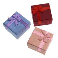 Tektura Pojedyncze pudełko na pierścionek, ze Gąbka & Wstążka rypsowa, Kwadrat, dostępnych więcej kolorów, 40x40x27mm, 10Torby/wiele, 24komputery/torba, sprzedane przez wiele