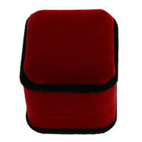 Velveteen Ring Box with Plastic Rectangle red 50x57x45mm 30PCs/Lot
