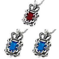 Titanium Steel Pendants, Crown, with cubic zirconia & blacken, mixed colors, 37x24x9mm, Hole:Approx 3-5mm, 5PCs/Bag, Sold By Bag
