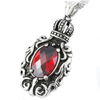 Titanium Steel Pendants, Crown, with cubic zirconia & blacken, red, 23.6x43.6mm, Hole:Approx 3-5mm, 5PCs/Bag, Sold By Bag