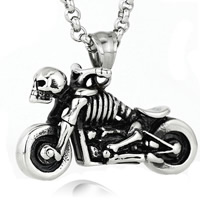 Titanium Steel Pendants, Skull, blacken, 20x35mm, Hole:Approx 3-5mm, 5PCs/Bag, Sold By Bag