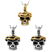 Titanium Steel Pendants, Skull, plated, blacken, mixed colors, 26x40mm, Hole:Approx 3-5mm, 5PCs/Bag, Sold By Bag