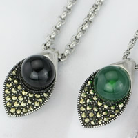 Titanium Steel Pendants, with Agate, Horse Eye, with rhinestone & blacken, mixed colors, 14x24mm, Hole:Approx 3-5mm, 5PCs/Bag, Sold By Bag