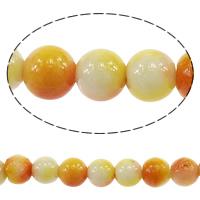 الخرز أزياء زجاج, جولة, تقليد اليشم قوس قزح, البرتقالي المحمر, 6mm, حفرة:تقريبا 1mm, طول:تقريبا 16 بوصة, 20جدائل/الكثير, تقريبا 70/حبلا, تباع بواسطة الكثير