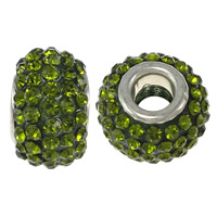 European Resin Beads, Rondelle, platinum color plated, brass double core without troll & with rhinestone, green, 10x15mm, Hole:Approx 5mm, 50PCs/Lot, Sold By Lot