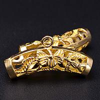 Mosiężny pałąk koraliki, Mosiądz, Rurka, Buddyjski biżuteria & pusty, oryginalny kolor, bez zawartości niklu, ołowiu i kadmu, 25x7.50mm, otwór:około 4.3mm,2mm, 50komputery/wiele, sprzedane przez wiele