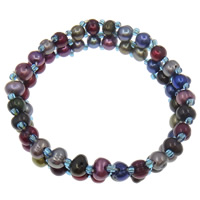 Freshwater Cultured Pearl Bracelet, Freshwater Pearl, Baroque, multi-colored, 5-6mm, Sold Per 6.5 Inch Strand