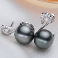 Tahitian Pearls Stud Earring with 925 Sterling Silver Swan natural with cubic zirconia black 9-10mm