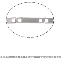 Łańcuch ze stali nierdzewnej Valentino, Stal nierdzewna, Valentino łańcucha, oryginalny kolor, 7x1.5x0.3mm, 11.5x3x0.5mm, 10m/torba, sprzedane przez torba