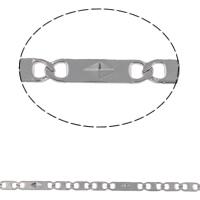 Łańcuch ze stali nierdzewnej Valentino, Stal nierdzewna, Valentino łańcucha, oryginalny kolor, 11.50x2.90x0.50mm, 10m/torba, sprzedane przez torba