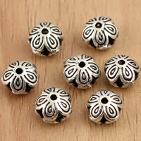Thailand Sterling Silver Beads, Flower, 6x5mm, Hole:Approx 1mm, 20PCs/Bag, Sold By Bag