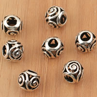 Thailand Sterling Silver Beads, Drum, large hole & hollow, 9x8.3mm, Hole:Approx 4mm, 5PCs/Bag, Sold By Bag