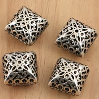 Thailand Sterling Silver Beads, Rhombus, hollow, 15x12.5mm, Hole:Approx 1mm, 3PCs/Bag, Sold By Bag