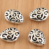 Thailand Sterling Silver Beads, Teardrop, hollow, 10x13mm, Hole:Approx 1mm, 10PCs/Bag, Sold By Bag