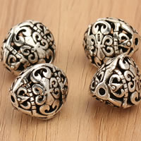 Thailand Sterling Silver Beads, hollow, 14x12.8mm, Hole:Approx 1.5mm, 3PCs/Bag, Sold By Bag