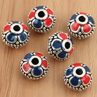 Thailand Sterling Silver Beads, Rondelle, enamel, 11x9mm, Hole:Approx 2mm, 3PCs/Bag, Sold By Bag