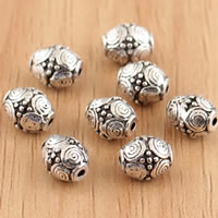 Thailand Sterling Silver Beads, Drum, 6x8mm, Hole:Approx 1mm, 8PCs/Bag, Sold By Bag