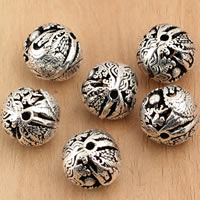 Thailand Sterling Silver Beads, Round, hollow, 12mm, Hole:Approx 1mm, 3PCs/Bag, Sold By Bag