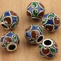 Thailand Sterling Silver Beads, Drum, enamel, 9x8.5mm, Hole:Approx 3mm, 5PCs/Bag, Sold By Bag
