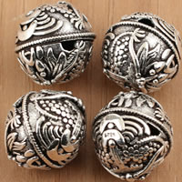Thailand Sterling Silver Beads, Round, 14x14mm, Hole:Approx 1.5mm, 2PCs/Bag, Sold By Bag