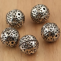 Thailand Sterling Silver Beads, Round, hollow, 11mm, Hole:Approx 1mm, 5PCs/Bag, Sold By Bag
