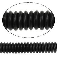 Koraliki z żywicy, żywica, Okrąg, czarny, 2x8mm, otwór:około 1.5mm, długość:około 16.5 cal, 20nici/wiele, około 197/Strand, sprzedane przez wiele