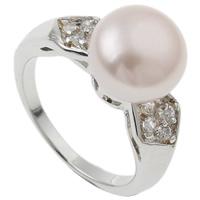 Pierścień z perłami słodkowodnymi, Perła naturalna słodkowodna, ze Mosiądz, Platerowane w kolorze platyny, 9-10mm, otwór:około 16-18mm, sprzedane przez PC