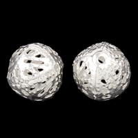 Ажурные бусины, Железо, Круглая, плакирован серебром, отверстие, не содержит никель, свинец, 10mm, отверстие:Приблизительно 1mm, 200ПК/сумка, продается сумка