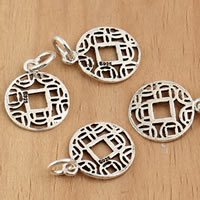 Thailand Sterling Silver Pendants, Coin, 12x19x0.90mm, Hole:Approx 3.5mm, 10PCs/Bag, Sold By Bag