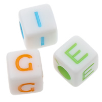 Solid Color Acrylic Beads, Cube, mixed, 7x7mm, Hole:Approx 3mm, Approx 2000PCs/Bag, Sold By Bag