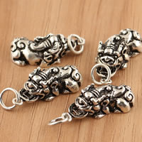 Thailand Sterling Silver Pendants, Fabulous Wild Beast, 105x27.50x6.50mm, Hole:Approx 4.5mm, 2PCs/Bag, Sold By Bag