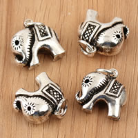 Thailand Sterling Silver Pendants, Elephant, 15x19.30x7.70mm, Hole:Approx 4mm, 2PCs/Bag, Sold By Bag