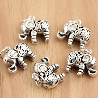 Thailand Sterling Silver Pendants, Elephant, hollow, 16x18x7mm, Hole:Approx 3.5mm, 3PCs/Bag, Sold By Bag