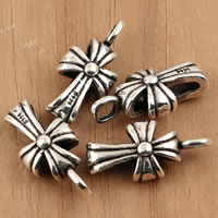 Thailand Sterling Silver Pendants, Cross, 9x19x6.50mm, Hole:Approx 2.5mm, 5PCs/Bag, Sold By Bag