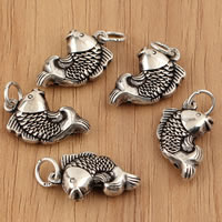 Thailand Sterling Silver Pendants, Fish, 11x22x5mm, Hole:Approx 3.5mm, 5PCs/Bag, Sold By Bag