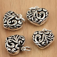 Thailand Sterling Silver Pendants, Heart, hollow, 14x18.70x6.50mm, Hole:Approx 3.5mm, 5PCs/Bag, Sold By Bag