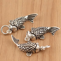Thailand Sterling Silver Pendants, Fish, hollow, 12x26x5mm, Hole:Approx 3.5mm, 5PCs/Bag, Sold By Bag