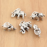 Thailand Sterling Silver Pendants, Elephant, 13x14x5.40mm, Hole:Approx 3.5mm, 5PCs/Bag, Sold By Bag