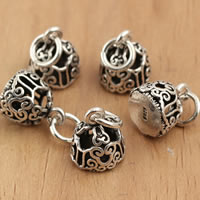 Thailand Sterling Silver Pendants, hollow, 8x14.5mm, Hole:Approx 3.5mm, 5PCs/Bag, Sold By Bag