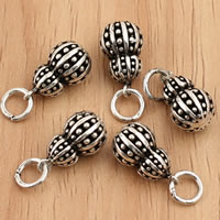 Thailand Sterling Silver Pendants, Calabash, 7.8x18.5mm, Hole:Approx 4mm, 5PCs/Bag, Sold By Bag