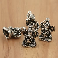 Thailand Sterling Silver Pendants, Elephant, 13x22.30x9.50mm, Hole:Approx 4mm, 2PCs/Bag, Sold By Bag